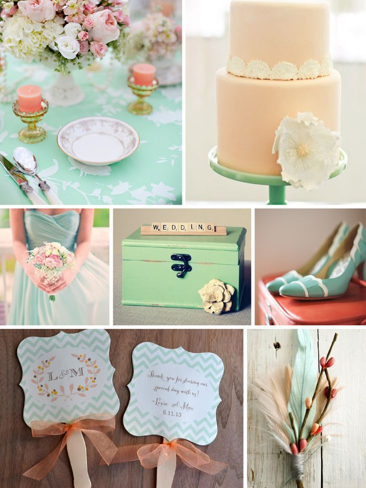 103 best Color Mint Peach Wedding images on Pinterest Dream