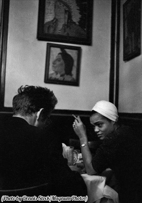 James Dean in a bar with Eartha Kitt, New York, 1955.