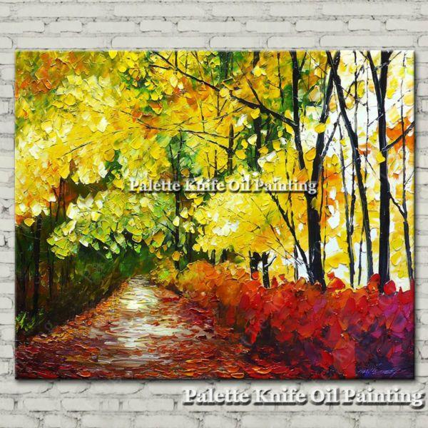 Ручной росписью картины маслом холстины настенные панно для гостиной декор стены искусства холст картины мастихином пейзаж 26