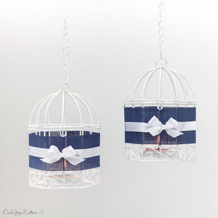 #Bleu marine #Cage et oiseaux à #dragées pour #baptême - Lot de 2 - #Titulaire thé #métal #bougie de #lumière - Lanternes suspendues : Décoration pour enfants par #openvintageshutters
