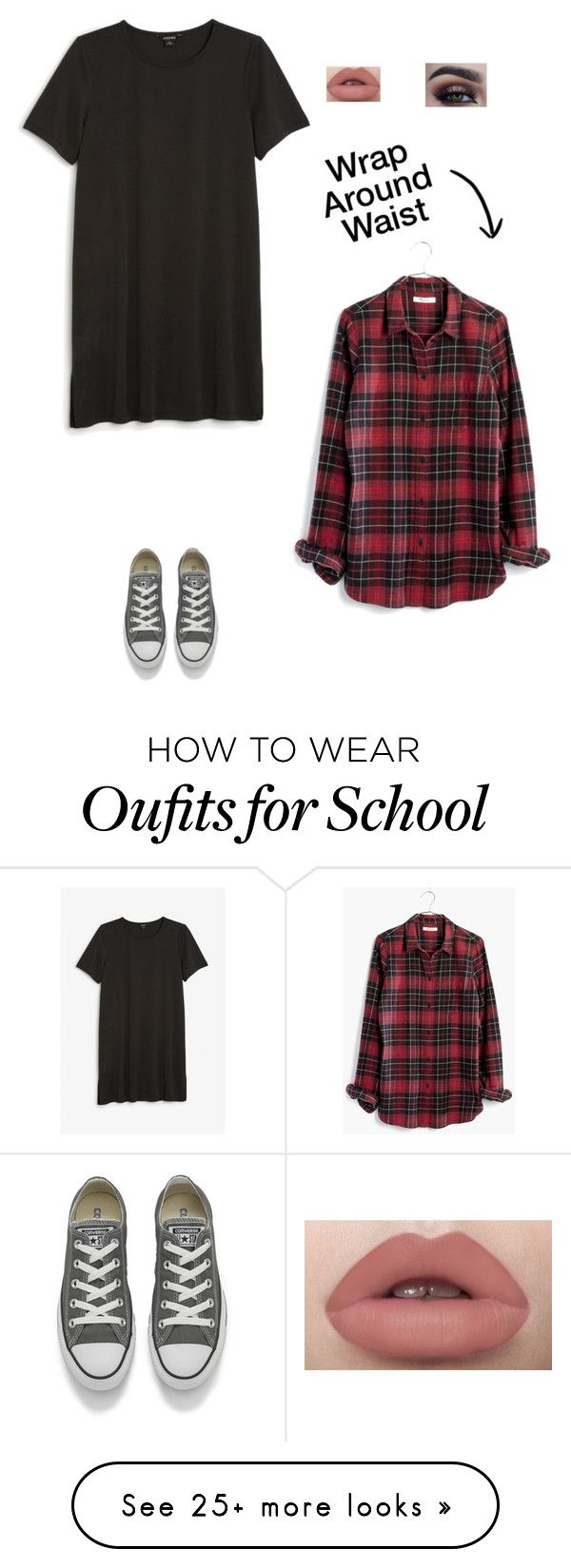 """School Look"" by myamarie8 on Polyvore featuring Monki, Madewell and Converse"