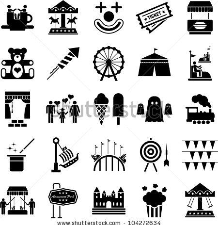 Amusement Park Icons Stock Vector 104272634 : Shutterstock