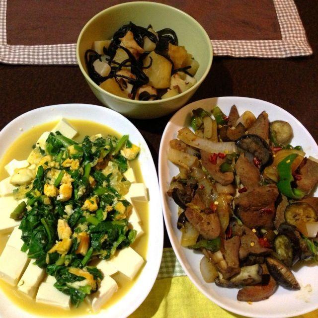 貧血のため鉄分補給メニュー - 14件のもぐもぐ - ほうれん草卵とじ豆腐のせ、レバー炒め、ひじき入り煮物 by tabajun