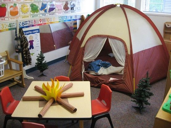 "have the student work together to pitch a tent in the classroom. afterward assign a process essay: ""how to pitch a tent."" leave the tent up for dramatic play- but put ""campfire"" on the floor with camp stools instead. Battery lanterns in the tent are a big hit too :)"