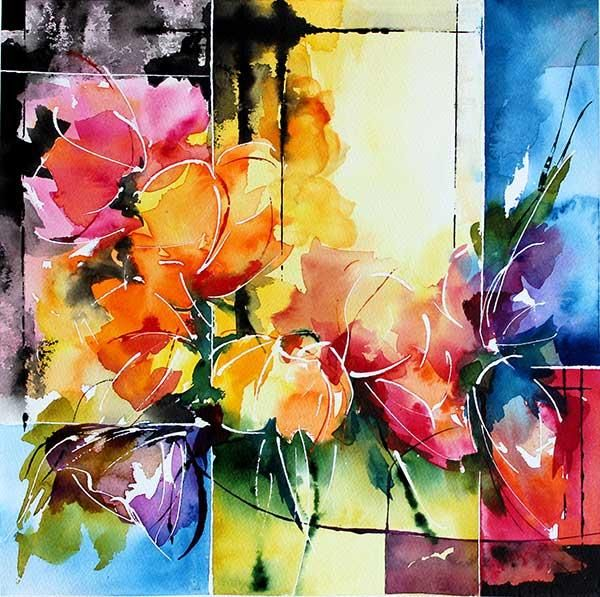 géométrie fleurie - Painting,  30x30 cm ©2013 par Véronique Piaser-Moyen -  Peinture