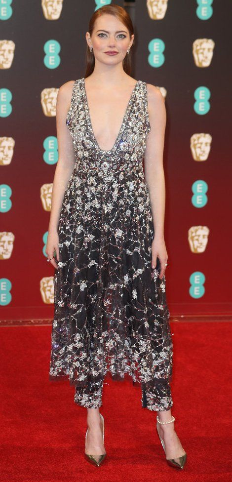 Emma Stone in Chanel Couture attends the 70th EE British Academy Film Awards (BAFTA). #bestdressed