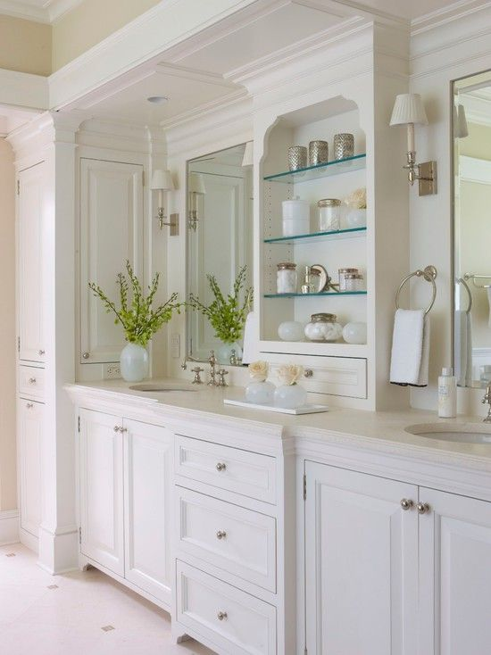 Teresa:  I like this cabinetry / counter & storage arrangement for the space to the right as you enter the master bath (I don't think the space is big enough for the tall skinny cabinet, though).