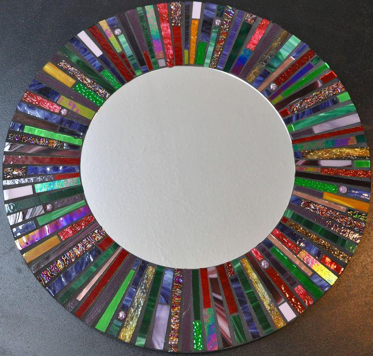 Mosaic+Stained+Glass+Mirror++24+Diameter++by+2ndTimeAroundMosaics,+$325.00