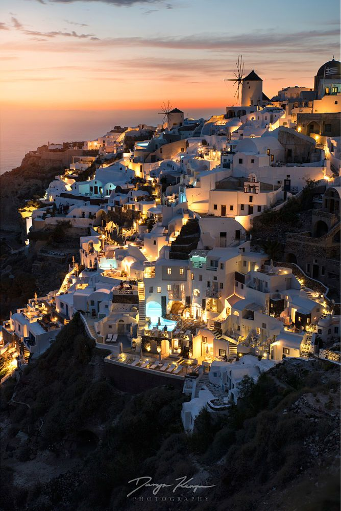 Oia by night, Santorini, Greece