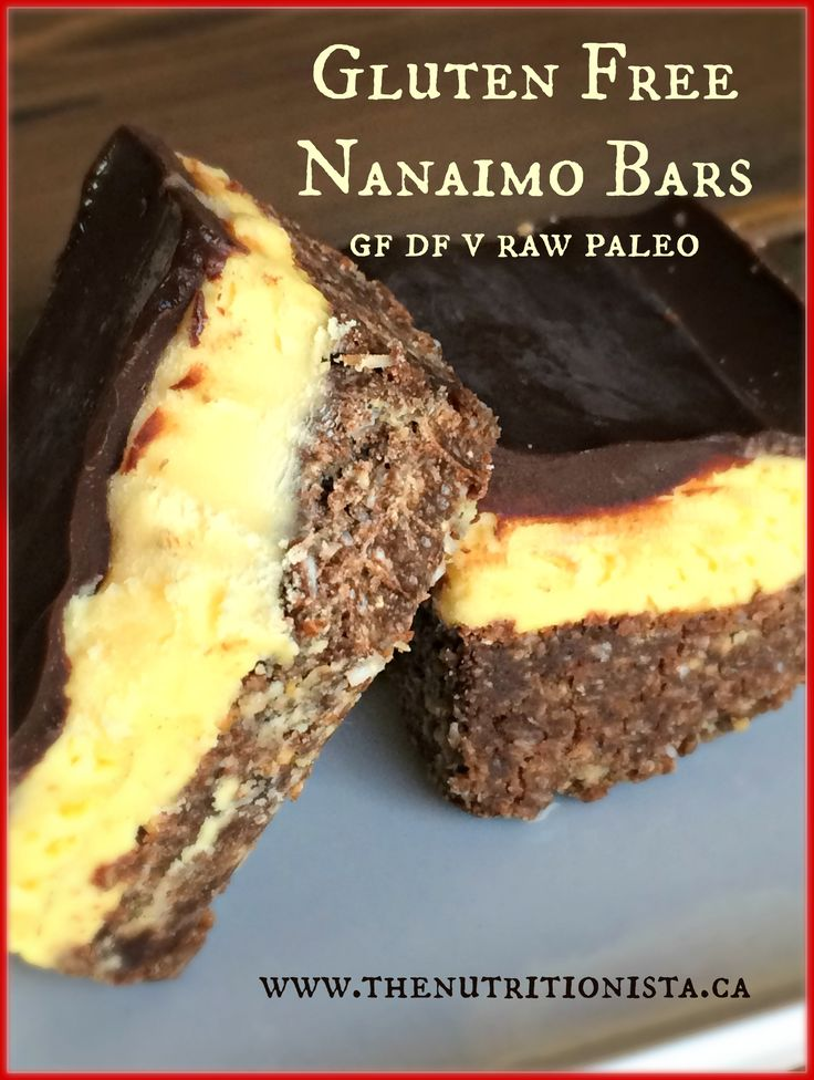 Healthy gluten free Nanaimo bars that are super quick and easy to make, delicious, and naturally paleo, raw, and vegan to boot. Via @bcnutritionista