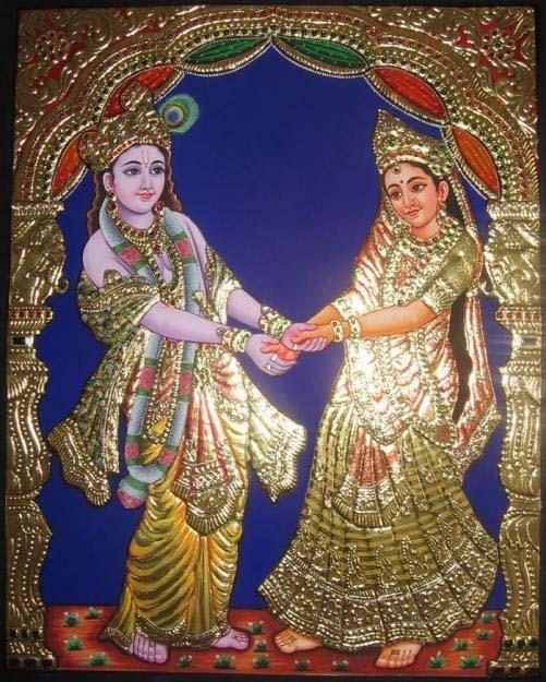 Tanjore paintings (Indian) Hindu god Lord Krishna.