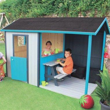 Maisonnette APPOLINE / couleurs / table extérieure + auvent