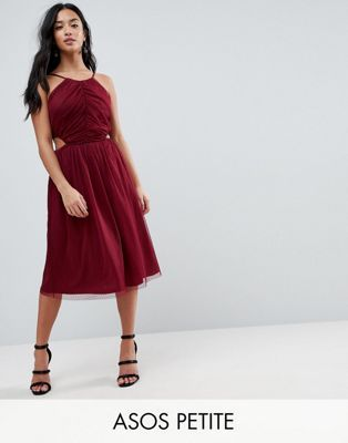 ASOS PETITE Dobby High Neck Midi Dress With Cut Out Sides