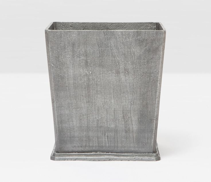 Pigeon & Poodle Porto Rectangular Wastebasket in Pewter Aluminum and Optional Tissue Box from The Well Appointed House