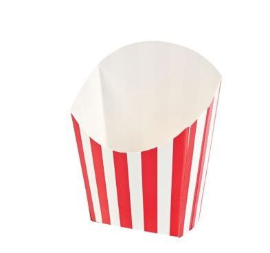Red Striped Chip Scoops  Not just for chips! 8.9cm x 11.4cm.  This is the perfect accessory that fits into one of the compartments of our Meal Munch Food Trays, or use with Meal Munch Party Boxes.   Price is per 6 scoops