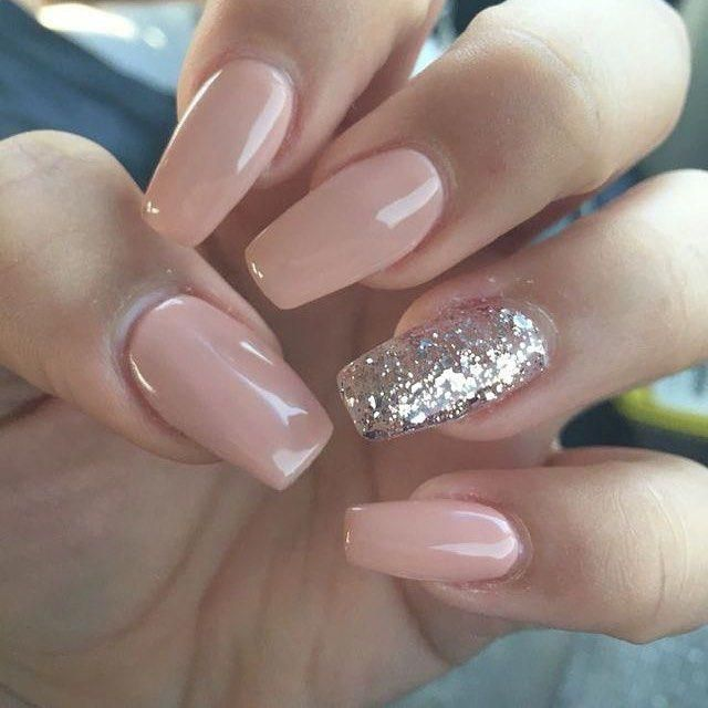 100 Must Try Nail Designs For Short Nails 2019 Summer One Glitter Nails Classy Acrylic Nails Plain Acrylic Nails