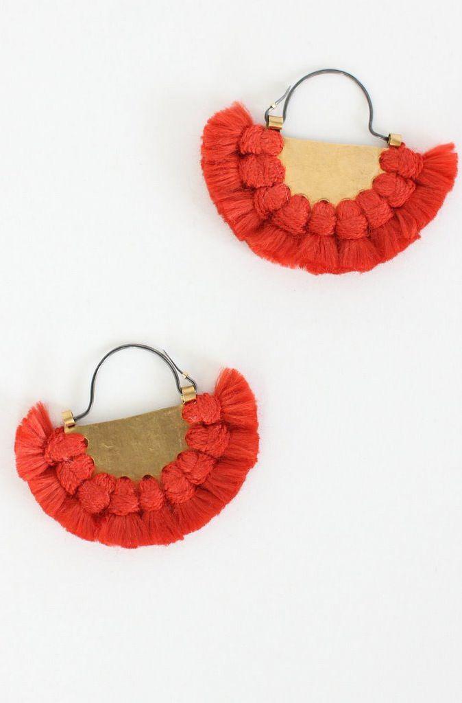 Hazel Cox Silk LUNAR ECLIPSE Red Earrings
