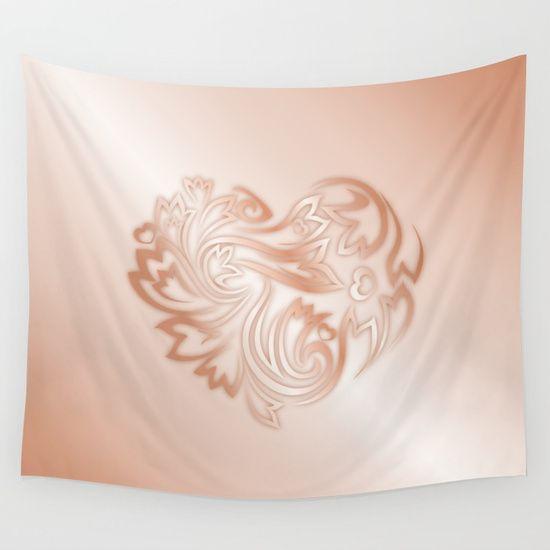 #rose gold #heart #floral #flowerheart #love #walltapestry #rose gold deco #copper deco