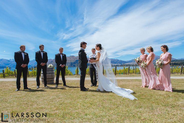 A vineyard wedding ceremony amongst the vines at Rippon, Lake Wanaka