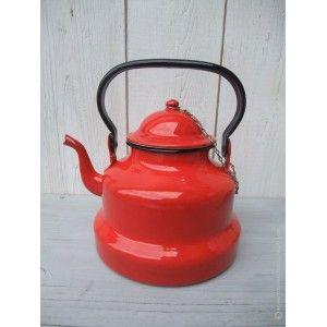 Ancienne bouilloire émaillée rouge Japy