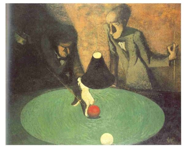 František Tichý - Billiard players (1932) #painting  #art #Czechia