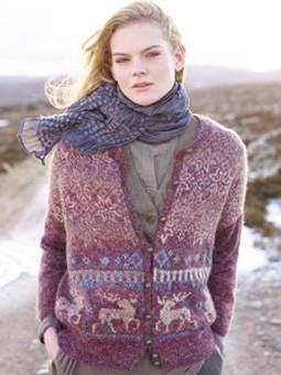 This Nordic fairisle cardi has a stag motif and has been designed by Marie Wallin using Colourspun and Kid Classic.