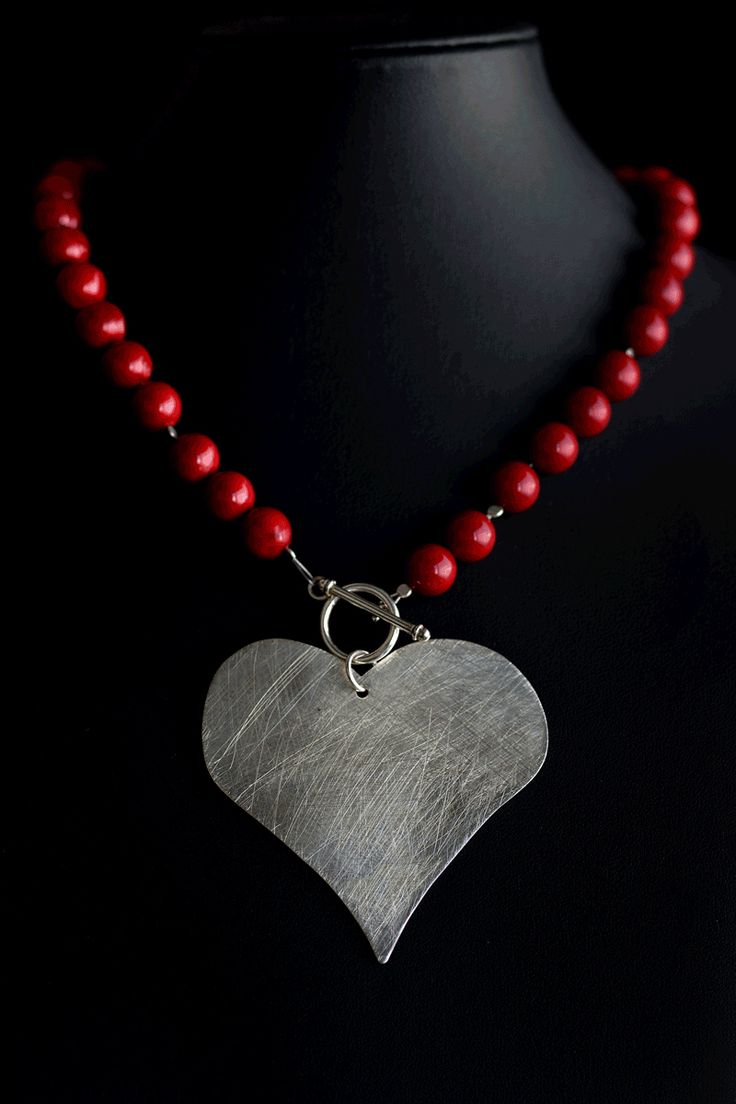 Necklace 2 -  Handmade heart made of silver 925 ,matte finish and handmade necklace made of coral pearls -  Necklace Length 42cm -  The heart is a symbol of love