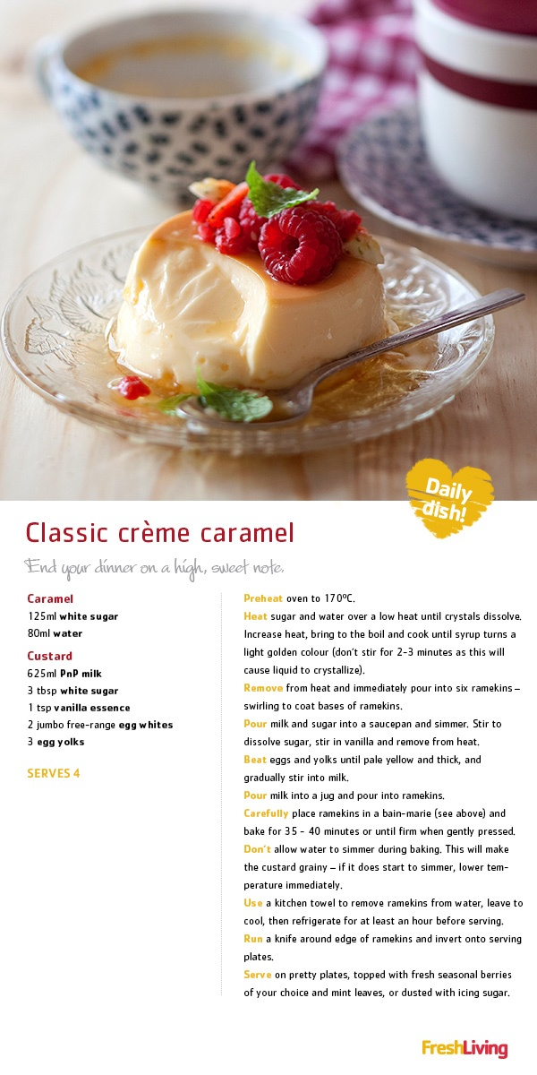 """CREAMY & DREAMY: Treat your sweet to classic creme caramel with mint and fresh berries this Valentine's Day!""  #dailydish #picknpay #freshliving #valentine's"