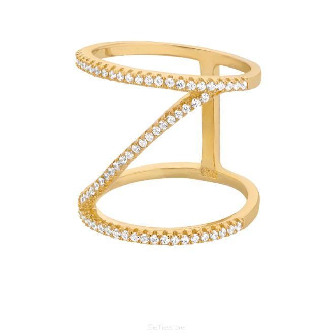 Pierścionek / Z / złocen / cyrkonie - Selfie Jewellery - Sklep Internetowy