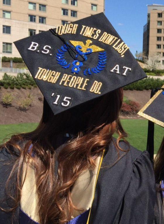 "Grad cap decorating ideas: Pitt Athletic Training Mortar Board! ""Tough Times Don't Last Tough People Do"" #collegegraduation #college #graduation #capt"