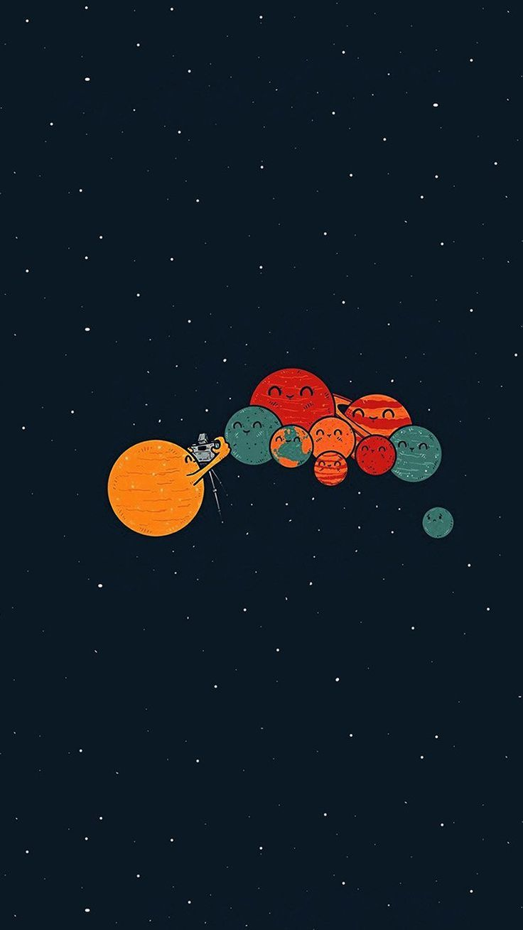 Planets Cute Illustration Space Art Blue Red Wallpaper Hd Iphone
