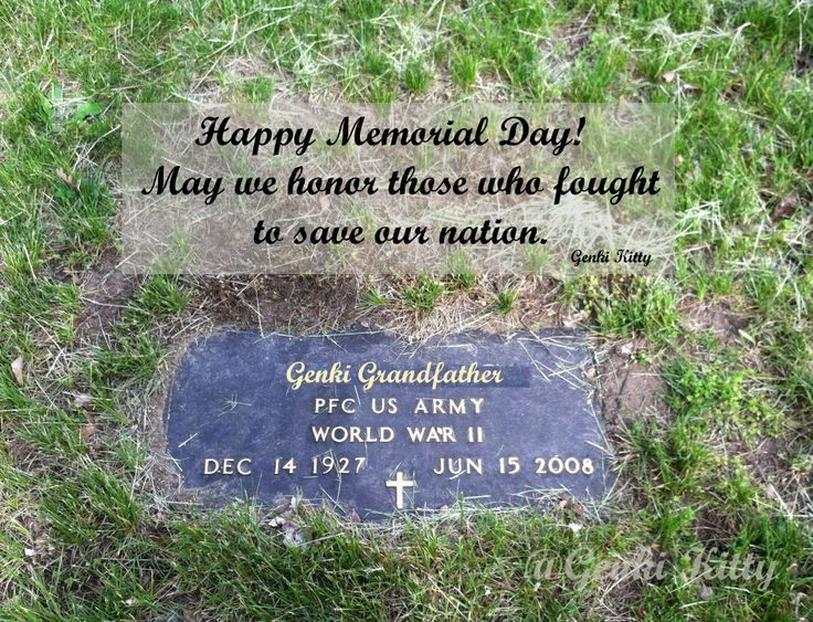 Genki Grandfather's grave plaque for being in the armed forces in WWII.  So proud of my grandfather!  Memorial Day 2014.  #genkikitty