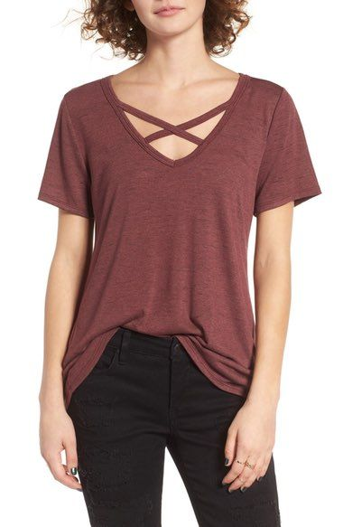 Main Image - Socialite Strap Front Tee (size x-small in dusty wine or black)