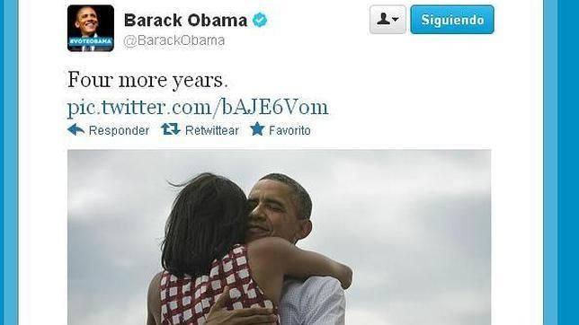 """""""Cuatro años más"""" tuiteo Obama tras ganas los comicios."""
