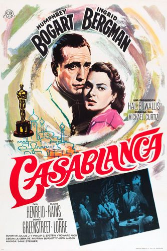 CLASSIC CASABLANCA movie poster HUMPHREY BOGART INGRID BERGMAN 24X36