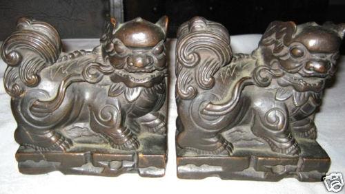 ANTIQUE ARMOR BRONZE BURMA CHINESE FOO DOG ART STATUE SCULPTURE ASIAN BOOKENDS