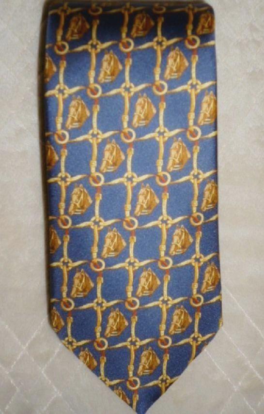 "Mens VTG BENJAMIN JAMES Tie SILK Novely Horse Head Bridle Blue Gold 58.5""  #BenjaminJames #Tie"