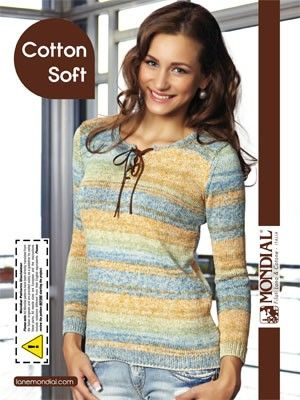 Cotton Soft Tie-Top Pullover | Knitting Fever Yarns & Euro Yarns - free pattern simple & elegant tie-top sweater