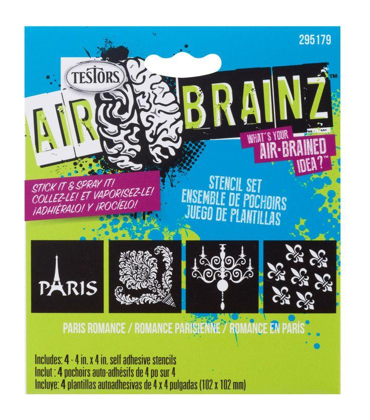 """AirBrainz Airbrush Stencils 4/Pkg-Paris Romance 4""""X4"""""""