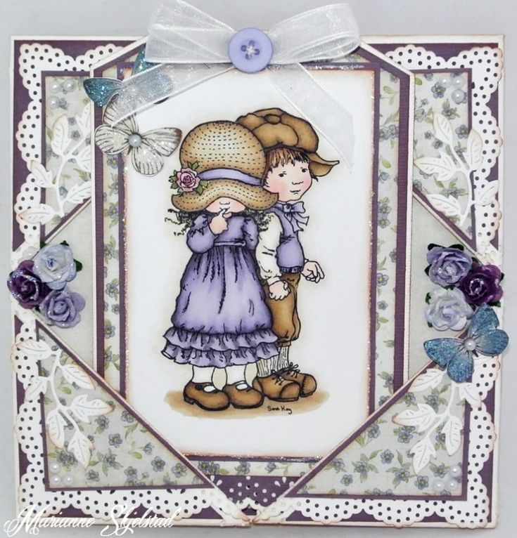 Adorable card by Marianne for Pion Design. Play Time – Flowers PD3209, Cut out PD3211, Borders PD3210, Crayons PD3206