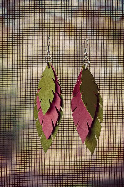 handmade leather earrings from thailand.