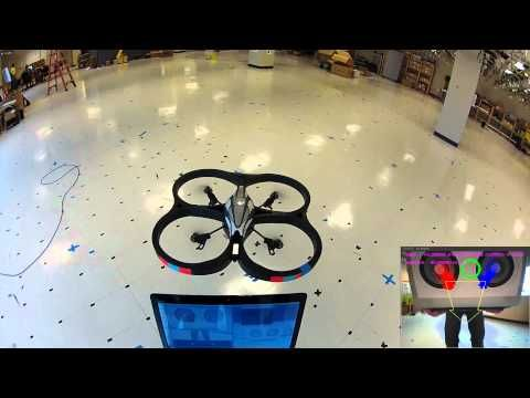 AR Drone Target Tracking with OpenCV - Optical Flow - This work have been made during 2012 summer internship at Winlab, Rutgers (NJ).  I use the cvCalcOpticalFlowPyrLK function from OpenCV to find the optical flow in the live video stream from the Ar Drone.