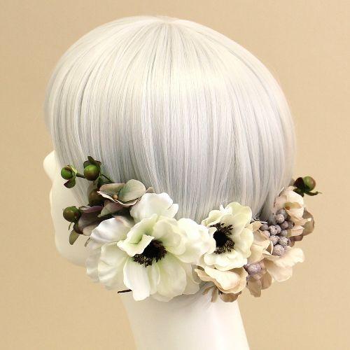 髪飾り・ヘッドドレス/アネモネのヘアピックセット(白) - ウェディングヘッドドレス&花髪飾りairaka