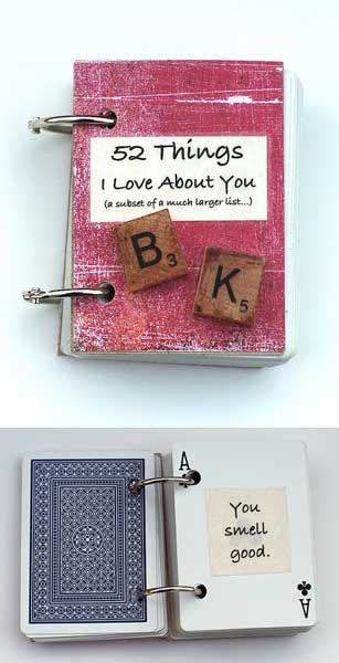 52 Things I Love About You Book (made with playing cards) - DIY Valentines Day Projects Descrizione in ITA -> http://www.ideeregalo.biz/gioca-le-tue-carte-dell-amore/