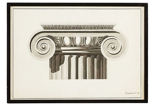 One Kings Lane - Vintage & Antique Discoveries - Architectural Line Drawing I