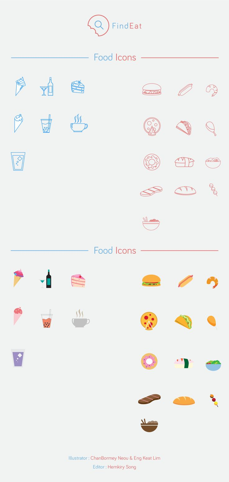 FindEat Food Icons Package  Illustrator : E Keat Lim , Neou Chanbormey Editor : Hemkiry Song