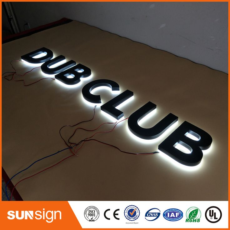business letter format with enclosure%0A painted Stainless steel Backlit signage letters LED  D illuminated Channel  letters signs for club