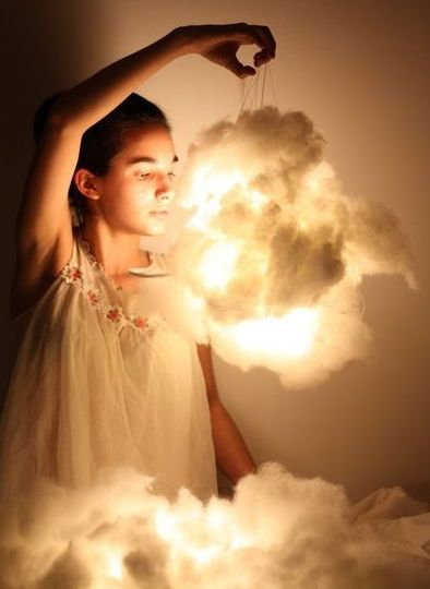 DIY Light Clouds....simple to make. Neat idea for a child's bedroom!