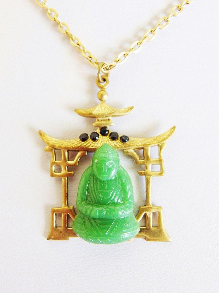 Pretty Vintage Asian Style Glass Buddha Pendant Necklace | eBay