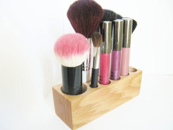 Image Of Kabuki Brush Holder Vanity Organizer Oak Wood via Etsy
